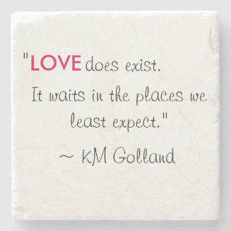 KM Golland 'Love does exist' Quote Coaster Stone Beverage Coaster