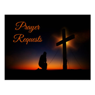 Kneeling at the Cross for Prayer Requests Postcard