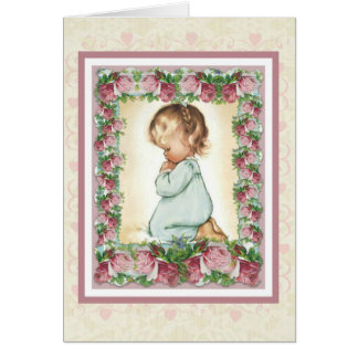 Kneeling praying little girl w/pink roses card