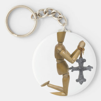 KneelPraySilverCross121909 Basic Round Button Key Ring