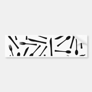 Knife Fork And Spoon Background Bumper Sticker