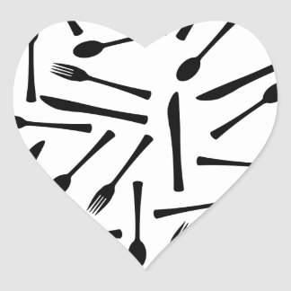 Knife Fork And Spoon Background Heart Sticker
