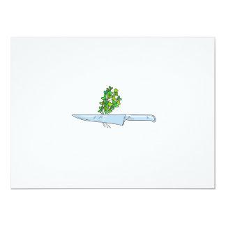 Knife Microgreen Drawing 17 Cm X 22 Cm Invitation Card