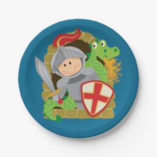 Knight and Dragon Paper Plate
