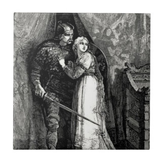 Knight and Fair Maiden Ceramic Tile