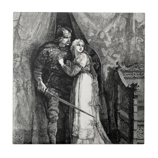 Knight and Fair Maiden Small Square Tile