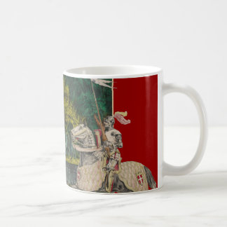 Knight and Horse in Armor Castle Behind Coffee Mug