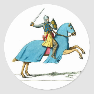 knight and horse round sticker