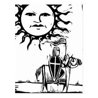 Knight beneath Sun Face Postcard