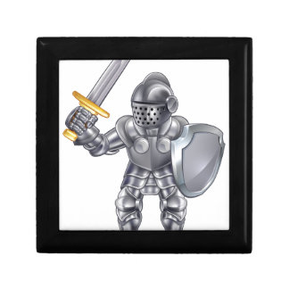 Knight Cartoon Mascot Character Gift Box