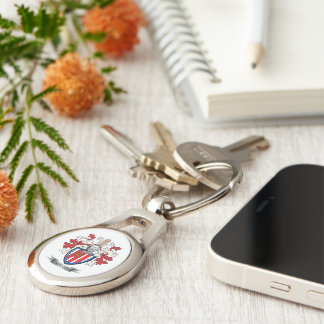 Knight Coat of Arms Silver-Colored Oval Key Ring