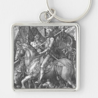 'Knight, Death and the Devil' Silver-Colored Square Key Ring