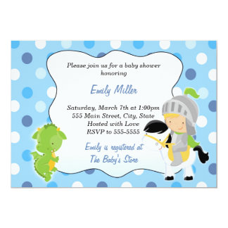 Knight Dragon Baby Boy Shower Invitation
