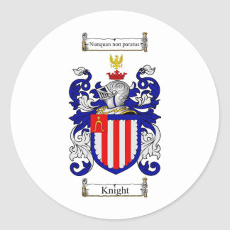 KNIGHT FAMILY CREST -  KNIGHT COAT OF ARMS CLASSIC ROUND STICKER