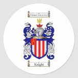 KNIGHT FAMILY CREST -  KNIGHT COAT OF ARMS ROUND STICKERS