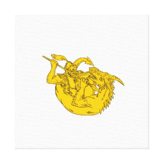 Knight Fighting Dragon Spear Drawing Canvas Print