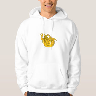 Knight Fighting Dragon Spear Drawing Hoodie