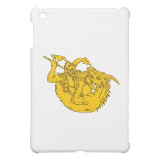 Knight Fighting Dragon Spear Drawing iPad Mini Covers