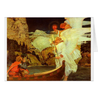 Knight Holy Grail Angels painting Card