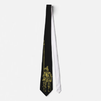 Knight in Armor Gold on Black Tie
