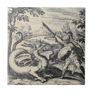 Knight in Armor Slaying the Dragon Ceramic Tile