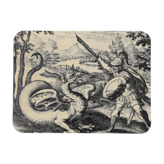 Knight in Armor Slaying the Dragon Rectangular Photo Magnet