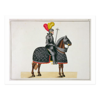 Knight in armour on his horse, plate from 'A Histo Postcard