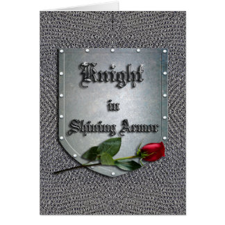Knight in Shining Armor Red Rose Card