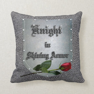 Knight in Shining Armor Red Rose Throw Cushion