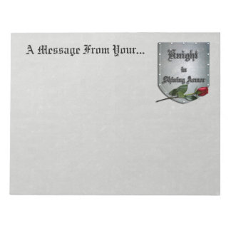 Knight in Shining Armor Red Rose Memo Note Pad