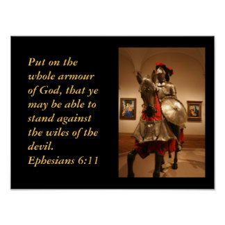 Knight in shining armour!  Gods' protection. Poster