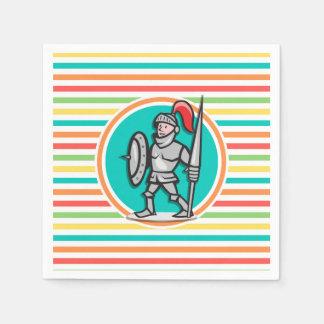 Knight on Bright Rainbow Stripes Disposable Napkins