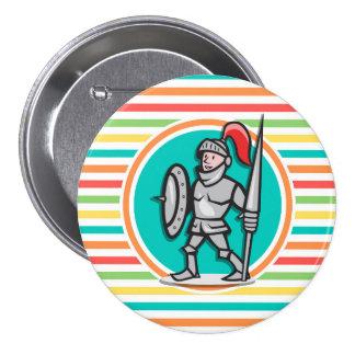 Knight on Bright Rainbow Stripes Pins