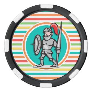 Knight on Bright Rainbow Stripes Set Of Poker Chips