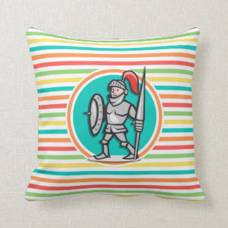 Knight on Bright Rainbow Stripes Throw Pillow