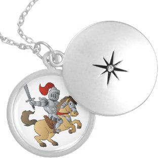 Knight on Horse Locket Necklace
