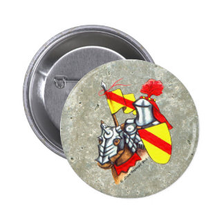 Knight on Horse Red Yellow Art 6 Cm Round Badge