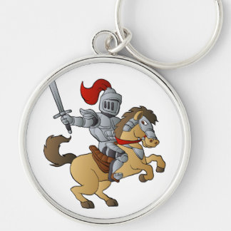 Knight on Horse Silver-Colored Round Key Ring