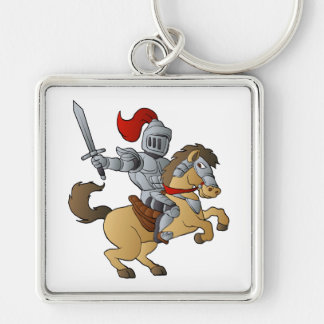 Knight on Horse Silver-Colored Square Key Ring