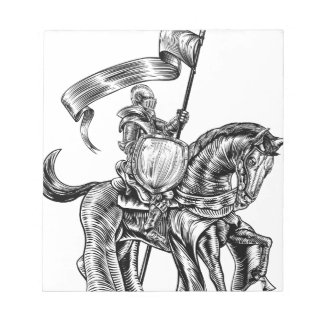 Knight on Horse Vintage Woodcut Engraving Notepad
