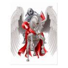 Knight on Pegasus Horse Postcard