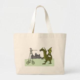 Knight Riding A Tall Bike Slaying A Dragon Large Tote Bag