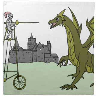 Knight Riding A Tall Bike Slaying A Dragon Napkin