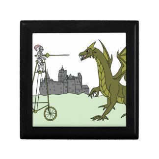 Knight Riding A Tall Bike Slaying A Dragon Small Square Gift Box