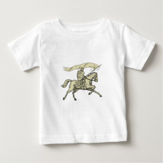 Knight Riding Horse Shield Lance Flag Drawing Baby T-Shirt