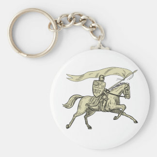 Knight Riding Horse Shield Lance Flag Drawing Basic Round Button Key Ring