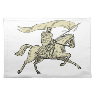 Knight Riding Horse Shield Lance Flag Drawing Placemat