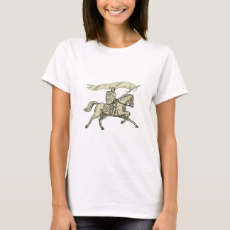 Knight Riding Horse Shield Lance Flag Drawing T-Shirt