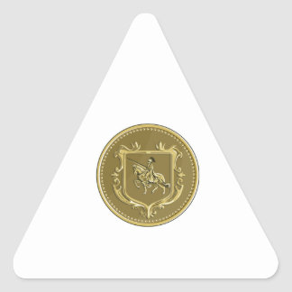 Knight Riding Steed Lance Coat of Arms Medallion R Triangle Sticker