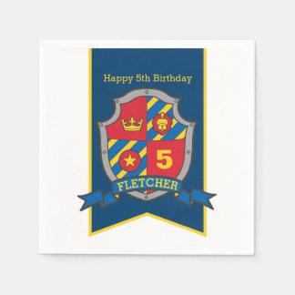 Knight shield 5th birthday medieval party napkins paper napkin